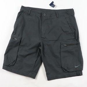 New Nike Swoosh Logo Cargo Shorts Gray Size 34
